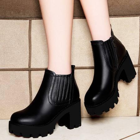 莱卡金顿6100秋季新款圆头纯色女靴子粗跟侧拉链短靴防水台女鞋