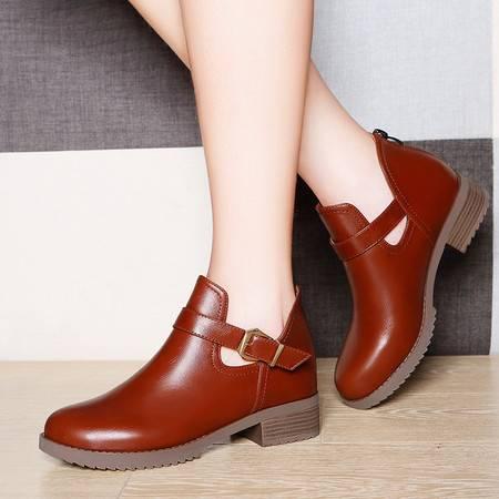 莱卡金顿2016新款春秋季粗跟加绒马丁靴女英伦风短靴女靴子中跟裸靴单靴女鞋子