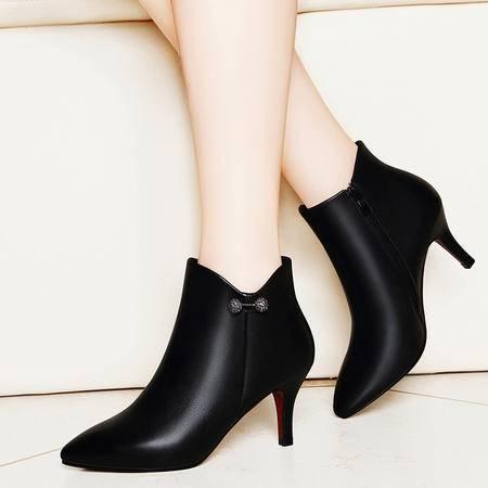 百年纪念1270短筒靴子英伦风马丁靴冬季新款高跟女靴细跟短靴尖头