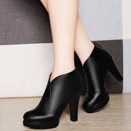 莱卡金顿6123秋冬新款单鞋粗跟女靴子后拉链短靴女高跟防水台女鞋