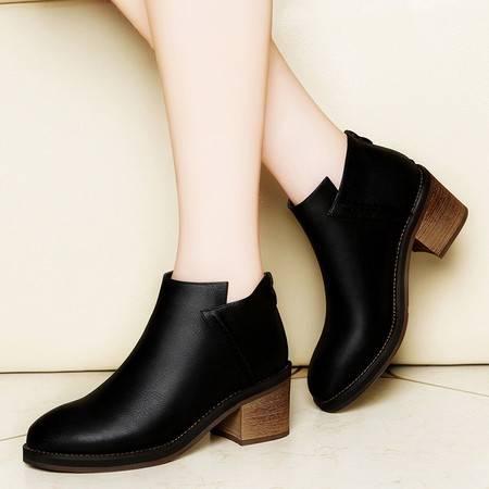 莱卡金顿6131秋季圆头后拉链女靴纯色粗跟女短靴中跟防水台女鞋