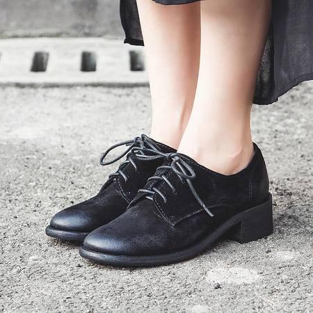 玛丽兰秋冬单鞋粗跟时尚欧美百搭系带女鞋