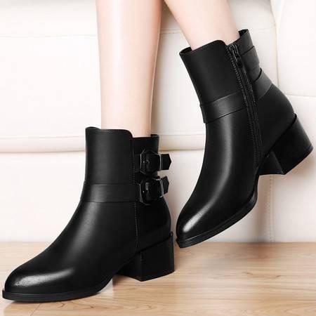 古奇天伦 古奇天伦8492英伦风马丁靴秋冬季新款中跟女鞋粗跟短靴短筒女靴子