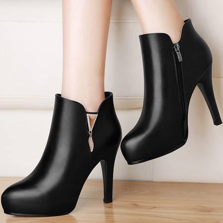 古奇天伦 古奇天伦8519英伦风马丁靴秋冬季新款高跟女鞋细跟女靴子短靴裸靴