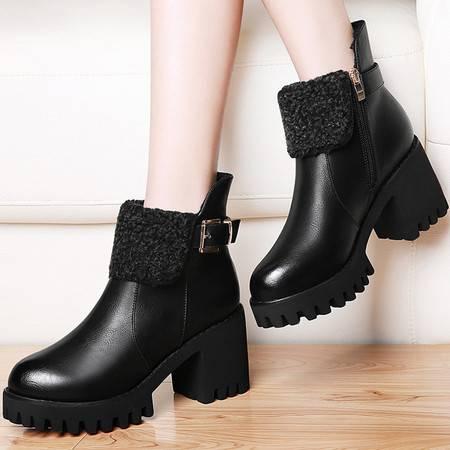古奇天伦 古奇天伦8462英伦风马丁靴秋冬季新款加绒粗跟女靴子高跟短靴女鞋