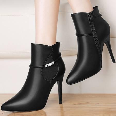 古奇天伦8516尖头女靴子秋冬季新款高跟短靴英伦风马丁靴细跟女鞋