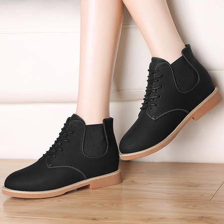 古奇天伦8507内增高女靴子秋冬季新款女鞋切尔西短靴英伦风马丁靴
