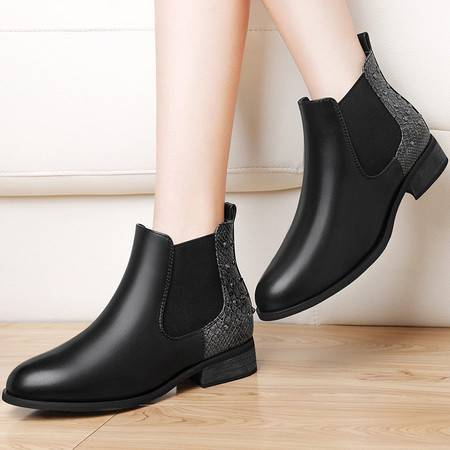 古奇天伦 古奇天伦8531粗跟短靴英伦风马丁靴女鞋秋冬季新款女靴子切尔西靴