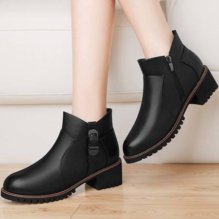 古奇天伦 古奇天伦8536粗跟短靴英伦风马丁靴秋冬季新款女靴圆头女鞋靴子潮