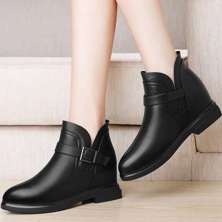 百年纪念 百年纪念1258真皮女鞋内增高短靴冬季新款短筒靴子英伦风马丁靴