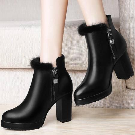 百年纪念 百年纪念1246短筒靴子英伦风马丁靴冬季新款粗跟短靴真皮女鞋高跟