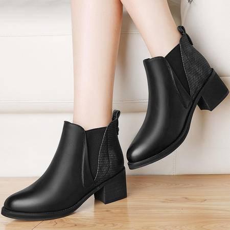 雅诗莱雅3148秋冬季加绒粗跟马丁靴女短筒靴英伦风百搭高跟女鞋圆头女靴子