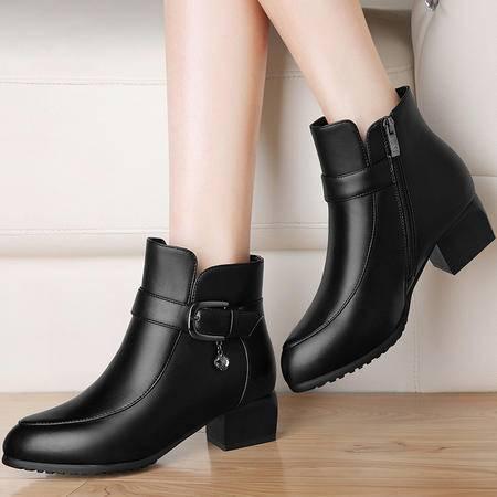 雅诗莱雅3137英伦风短靴秋冬季新款圆头中跟女靴子粗跟马丁靴加绒裸靴女鞋