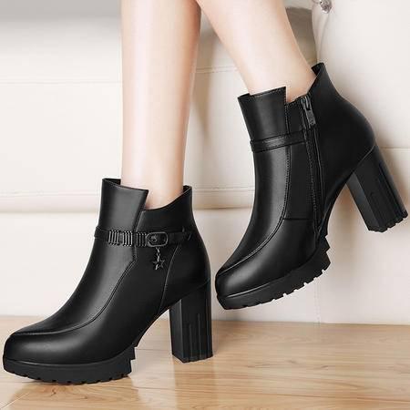 雅诗莱雅 3142高跟防水台女短靴秋冬新款粗跟裸靴马丁靴女鞋子皮靴英伦风潮