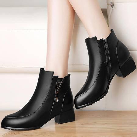 雅诗莱雅 3141秋冬新款女靴粗跟加绒短筒靴中跟马丁靴女鞋子英伦风圆头裸靴