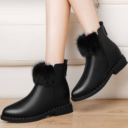 秋冬季新款毛毛女靴英伦风尖头短筒靴3162粗跟马丁靴加绒学生女鞋