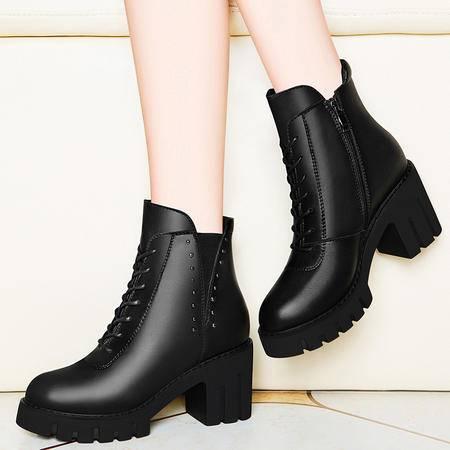 百年纪念英伦风马丁靴粗跟短靴1274秋冬季新款高跟女鞋真皮女靴子