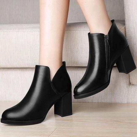 百年纪念粗跟短靴英伦风马丁靴1249秋冬季新款高跟女鞋真皮靴子潮