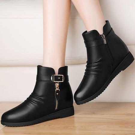 内增高短靴女马丁靴3151秋冬季新款平底休闲女鞋子加绒英伦风裸靴