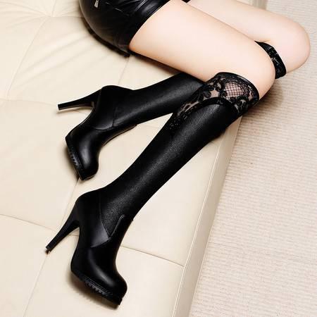 莱卡金顿 莱卡金顿6120秋冬季圆头细跟长筒靴水钻套筒女长靴高跟防水台女鞋