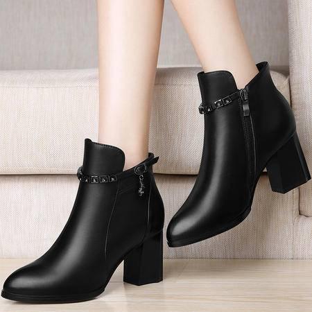 百年纪念真皮女鞋粗跟短靴1252秋冬季新款高跟女靴子英伦风马丁靴