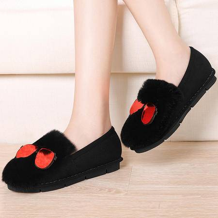 毛毛鞋雪地靴女秋冬韩版平底中跟厚底加绒学生女鞋子兔毛鞋女短靴