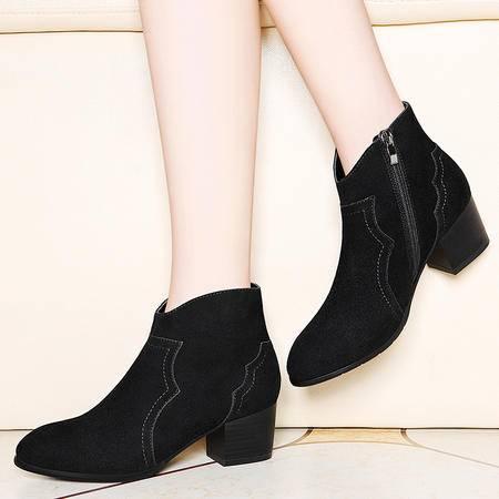 百年纪念英伦风马丁靴粗跟短靴2016秋冬季新款高跟女鞋圆头女靴子