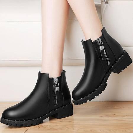 粗跟短筒靴女鞋子3153秋冬新款休闲韩版靴子英伦风马丁靴学生裸靴