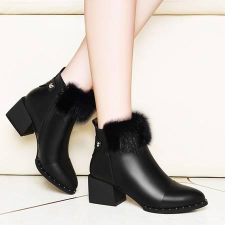 莱卡金顿 莱卡金顿6153秋冬季款貂毛高跟马丁靴潮女靴子拉链女短靴粗跟女鞋
