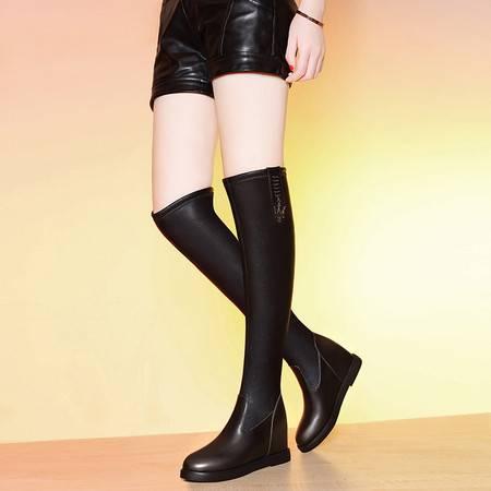 莱卡金顿 莱卡金顿6116秋冬季纯色欧美平底弹力过膝靴长筒内增高女靴马丁靴
