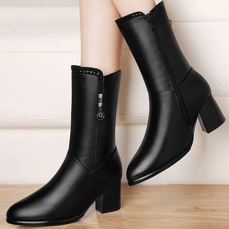 古奇天伦英伦风马丁靴高跟中筒靴2016秋冬季新款粗跟短靴女鞋子潮