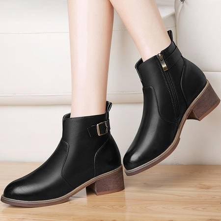 古奇天伦粗跟马丁靴潮女短靴2016秋冬季新款中跟女鞋英伦风女靴子