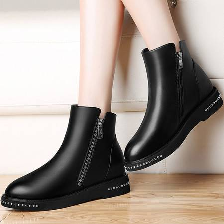 古奇天伦内增高短靴2016秋冬季新款短筒女靴子英伦风马丁靴女鞋潮