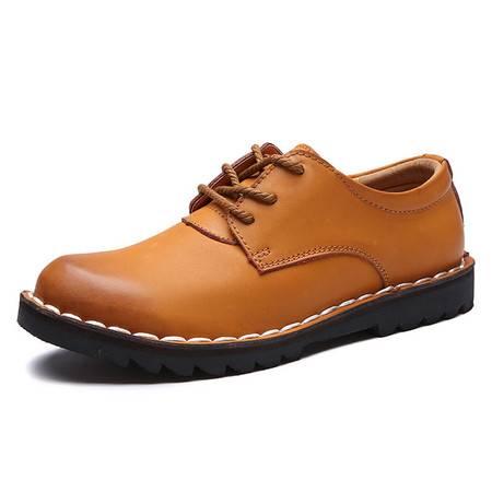 真皮男鞋秋季休闲皮鞋男士真皮休闲鞋青年韩版潮流鞋子系带板鞋男