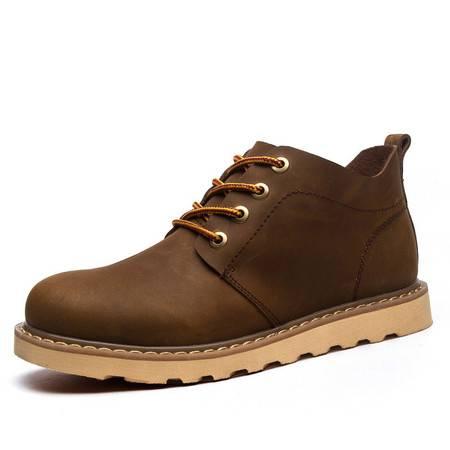 古奇天伦冬季马丁靴真皮英伦工装靴男士短靴加绒皮靴男鞋保暖靴子