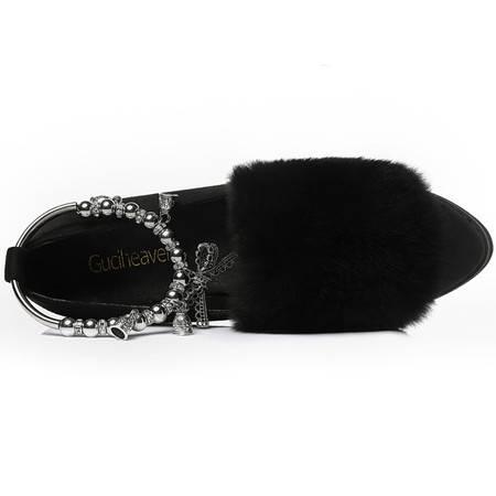 古奇天伦 古奇天伦8542粗跟女鞋韩版单鞋秋冬季新款中跟鞋子中口低帮鞋时尚