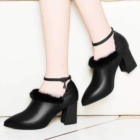 百年纪念真皮女鞋粗跟鞋子1328秋冬季新款一字扣单鞋英伦风高跟鞋