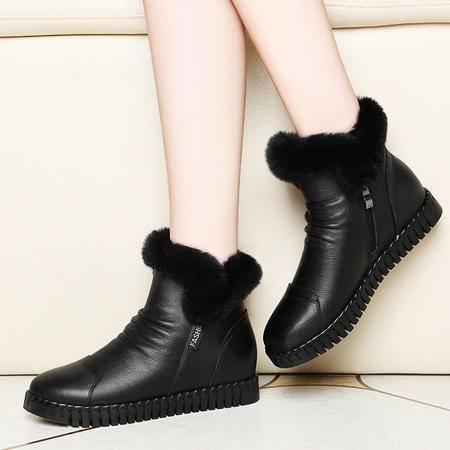 百年纪念真皮女鞋内增高靴子1305秋冬季新款平底短靴英伦风马丁靴