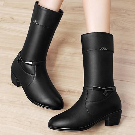 古奇天伦粗跟中筒靴高跟女鞋8534秋冬季新款靴子英伦风马丁靴时尚