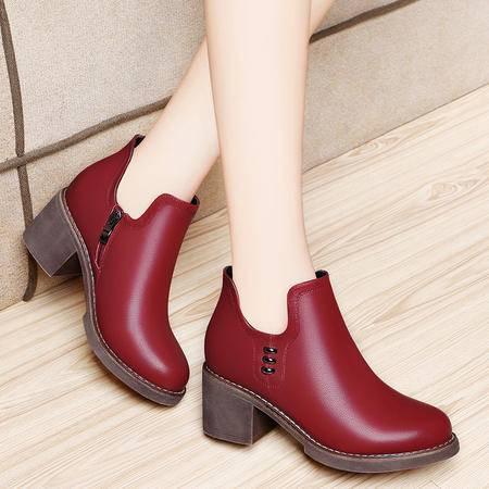 百年纪念高跟女鞋粗跟靴子1329秋冬季新款英伦风马丁靴圆头短靴潮