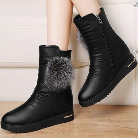 古奇天伦内增高靴子英伦风马丁靴8532秋冬季新款平底短靴厚底女鞋