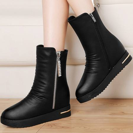 古奇天伦 古奇天伦8535内增高女鞋厚底靴子秋冬季新款平底短靴英伦风马丁靴