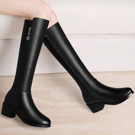 古奇天伦 古奇天伦8514过膝长筒靴粗跟靴子秋冬季新款高跟女鞋英伦风骑士靴