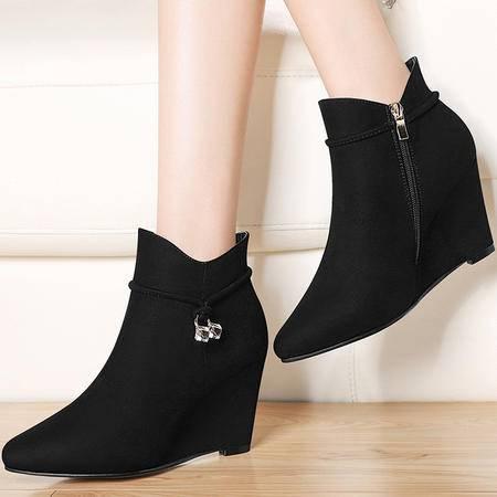 古奇天伦 古奇天伦8548坡跟靴子英伦风马丁靴秋冬季新款圆头短靴厚底女鞋潮