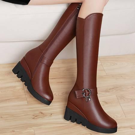 guciheaven/古奇天伦过膝长靴高筒女靴子秋冬季加绒高跟女鞋坡跟长筒靴防水台女鞋