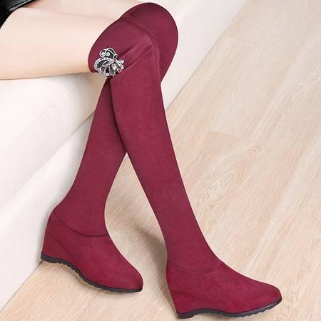 guciheaven/古奇天伦 过膝靴新款秋冬加绒保暖高跟高筒长靴内增高坡跟女靴子套筒女鞋