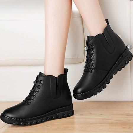 雅诗莱雅 短靴女鞋3170秋冬季新款系带厚底马丁靴女英伦风学生靴子平底加绒
