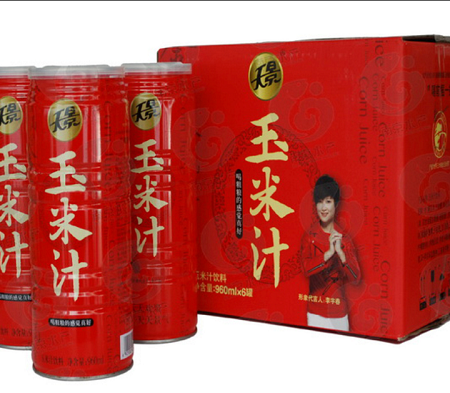 天景大红罐玉米汁 营养果蔬汁 鲜榨玉米汁 粗粮饮料 960ml*6罐