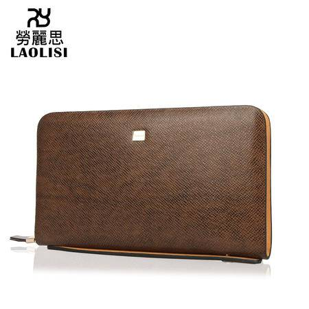 劳丽思 品牌正品真皮男士手包 十字纹大容量手拿包棕色L571-5C