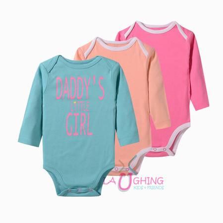 婴童全棉长袖连体衣爬爬服三件套